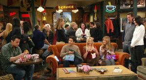 The couch at Central Perk, the coffee shop where the gang from Friends hangs out.